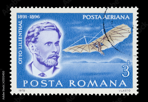 Romanian stamp featuring flight pioneer Otto Lilienthal - 21513450