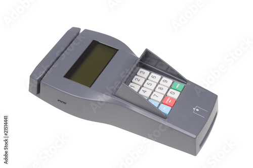 Credit machine (pos terminal). Isolated object