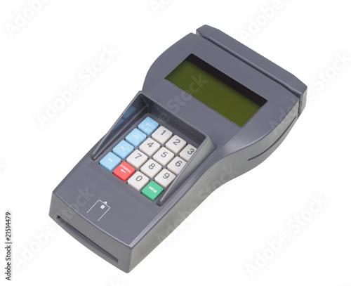Credit machine (pos terminal). Isolated object.