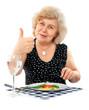 happy old woman eating healthy food