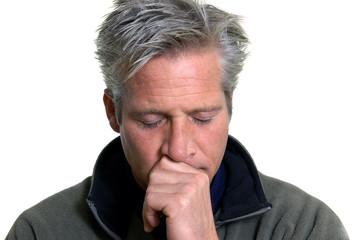 Sad man with eyes closed
