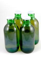 4 beer stubbie bottles