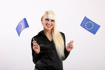 young woman with flags of European Union