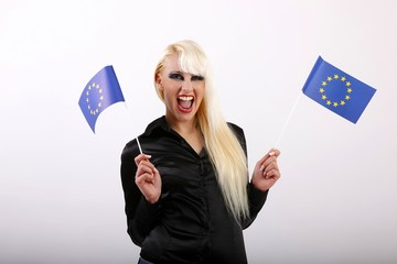 crying young woman with flags of European Union