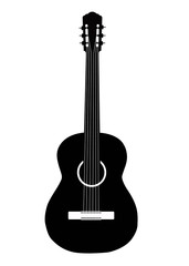 vector classical acoustic guitar, isolated on white background