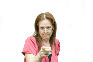 Woman wearing glasses and pointing.