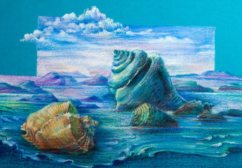 original art work in pastel. Marine life