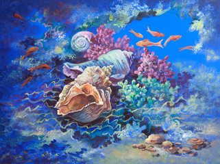 original art work tempera. Marine life