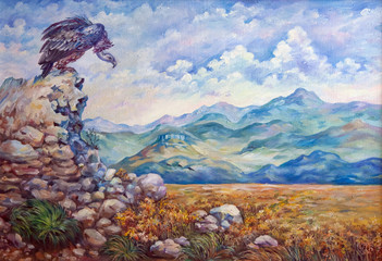 original art work by oil. Mountains