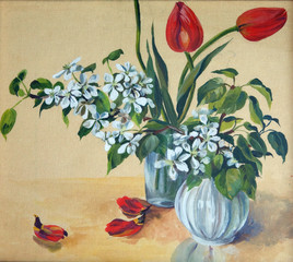 Tulips and cherry. Painting by a gouache
