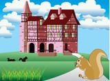 Fairytale landscape vector poster
