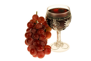 Grapes and wineglass