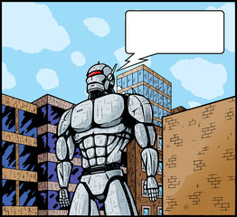 Giant robot in city attacking it or defending it.