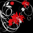 roleta: Red flowers on black background