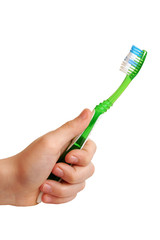 Tooth-brush in a hand