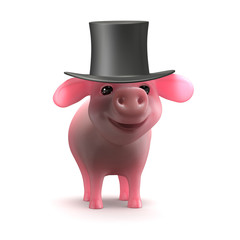 Piglet wearing top hat