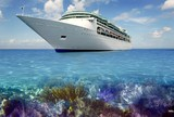 caribbean reef view with cuise vacation boat poster