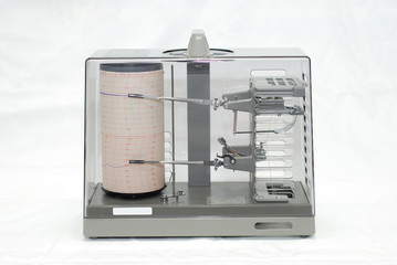 Thermohygrograph on white background