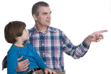 Grandchild and grandfather