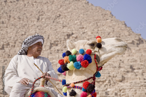 Egyptian sitting on a camel in the background of the pyramid