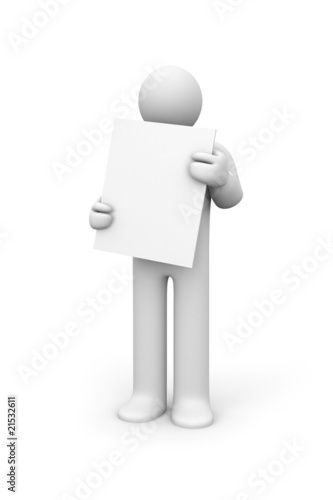 Person and blank billboard (add you text or design)