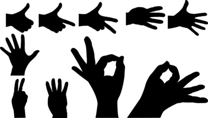 Hands silhouette set