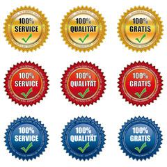 Siegel-Set  100 Prozent Service, Qualität und Gratis