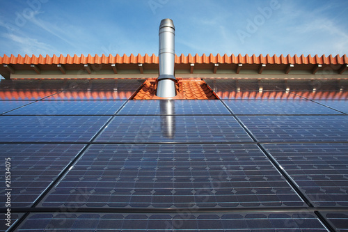 black high performing solar modules and stainless steel chimney