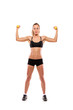 Young attractive woman with weights isolated on white background