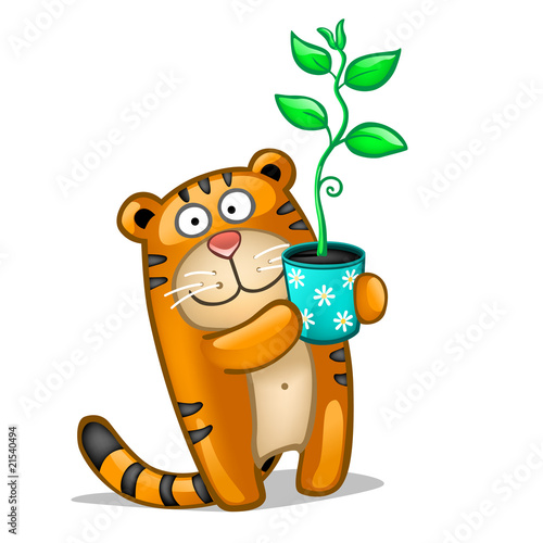 Fun tiger with plant