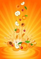 Tasty fruit in yoghurt