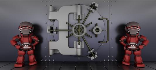 robots guarding a bank vault