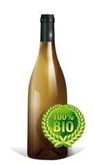 bouteille de vin de bourgogne blanc BIO
