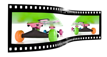 Colorful skateboard isolated on white film strip