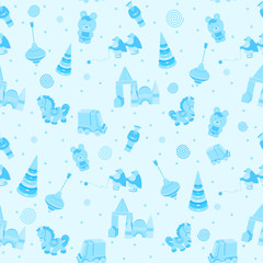seamless wallpaper vintage vector blue for children