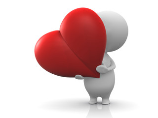 Illustration of a person holds a red heart