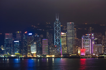 Hong Kong harbor view with skyscrapers in the night