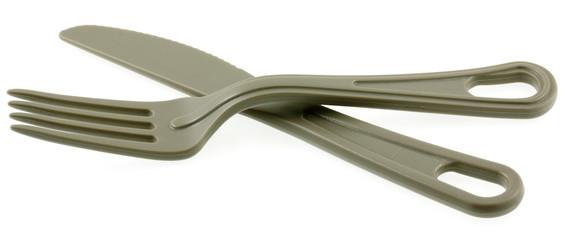 fourchette et couteau en polycarbonate, fond blanc