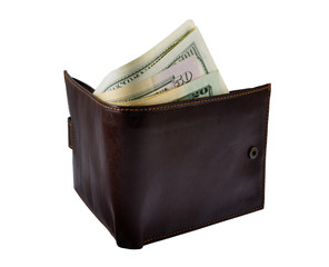 Brown Wallet With Money
