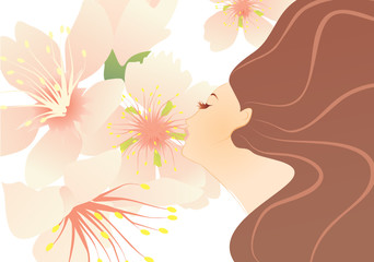 vector girl profile with flowers