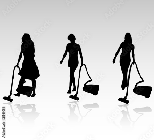 three cleaning women vector silhouettes