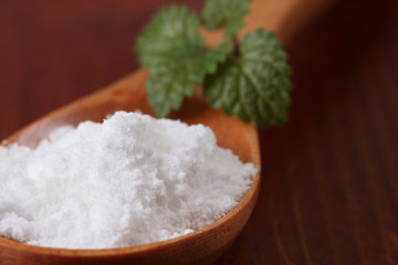 Icing sugar and lemon balm