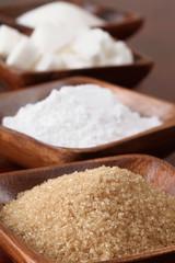 Sugar in wooden bowls