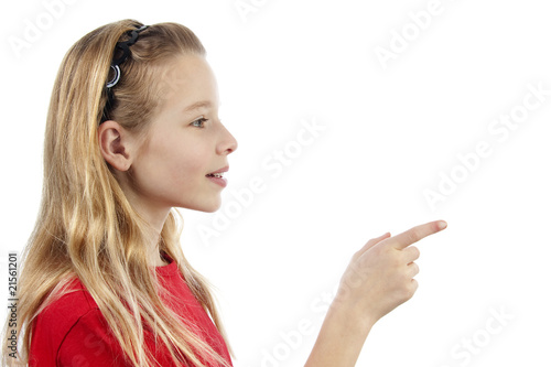 girl is pointing over white background
