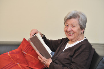 Senior Woman Reading Book 6