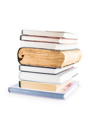 stack of books on the white