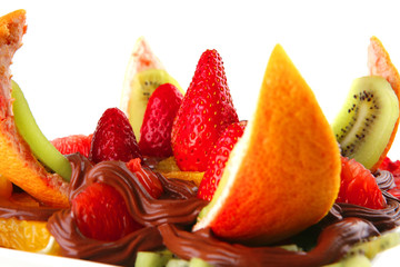 exotic fruits in chocolate cream