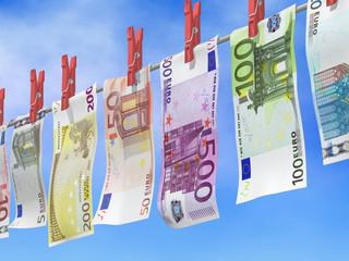 Euroscheine frisch gewaschen