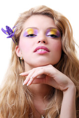 Blonde with iris flowers