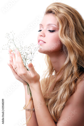 Blonde with gypsophila flowers